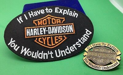 Harley Davidson  lapel pin &   IRON ON Patch you wouldn't understand