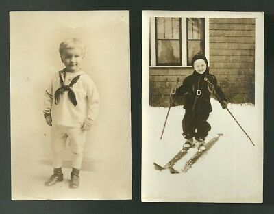 RPPC Little Boy in Navy Outfit & Little Guy Skiing...unposted