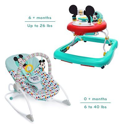 Disney Mickey Mouse Baby Walker And Rocker Bundle Newborn to Infant