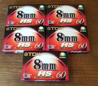 5 x TDK HS 60 High Standard 8mm Camcorder Tapes Brand New Sealed Made In Japan