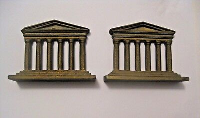 Vintage Small Cast Metal Desk / Shelf Bookends Marked 585 ~ Very Detailed !