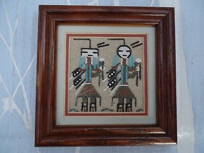 Native American Navajo Sandpainting-Image,signed & Information On Back-Adell Lee