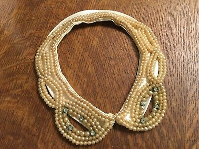 Vintage made in Japan faux pearl & rhinestone on satin hand beaded collar