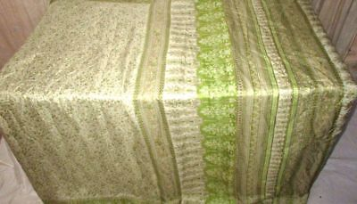 Cream Green Pure Silk 4 yd Vintage Antique Sari Saree latest collection #9EDVS