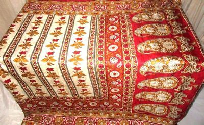 Cream Red Pure Silk 4 yard Vintage Sari Saree HOT BARGAIN DEAL Wedding NR #9EDVX