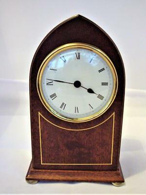 VINTAGE MAHOGANY LANCET MANTLE CLOCK - good working order.
