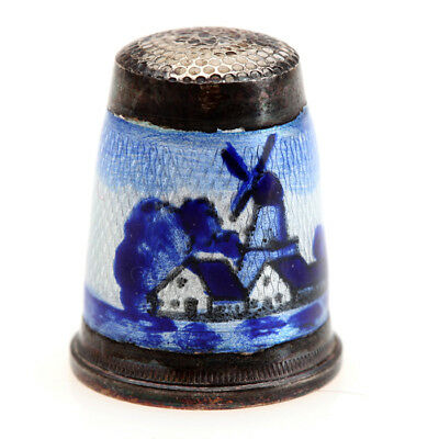 Beautiful Vintage Delft Windmill Design Sterling Silver Guilloche Enamel Thimble