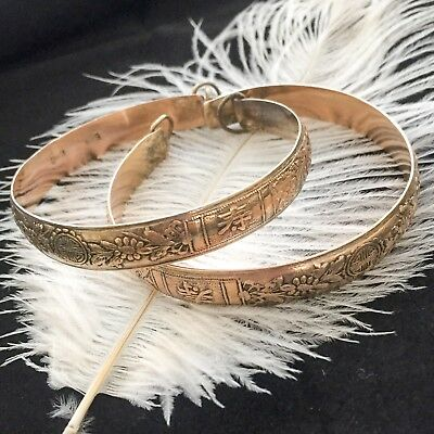Vintage Antique Peranakan Straits Chinese Pair Of Fu Lu Shou Leap Month Bangles