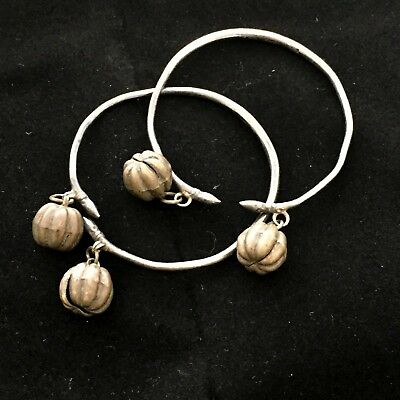 Vintage Antique Peranakan Straits Chinese Pair Of Children's Bell Anklets Bangle