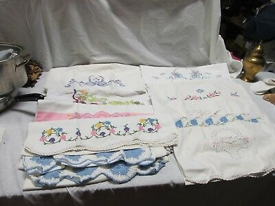 Lot Of 18 VINTAGE EMBROIDERED PILLOWCASES