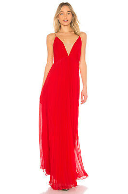 0103f18590c0 JILL STUART PLEATED Deep-V Gown Poppy Red Nude Size 4  378 -  359.99 ...
