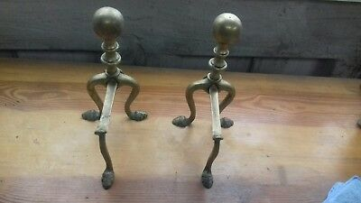 Pair Of Brass Stands For A Hearth