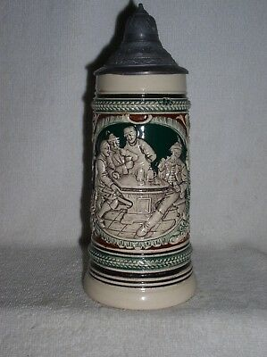 1/2L Pottery Stein Men Playing Cards Drinking With Barmaid Serving Mint & Nice