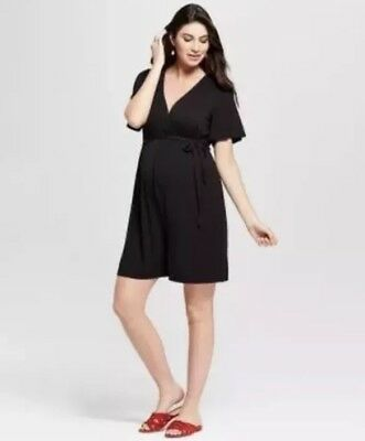 Isabel Maternity Womens Crossover Belted Romper Black Size Medium