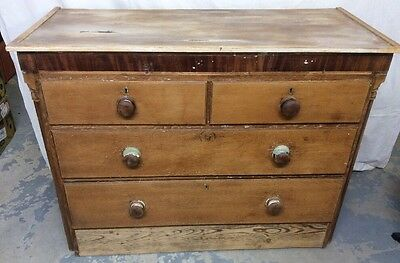Pine Shabby Chic Edwardian Chest of Drawers 2 Over 2 Extensively Repaired