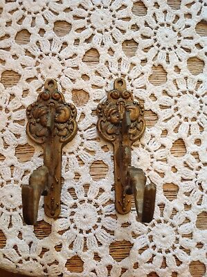 Pair Of Vintage Brass Sea Serpent With Medieval Figures Wall Coat/hat Hooks