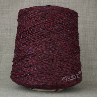 DONEGAL TWEED PURE WOOL DK YARN OXBLOOD RED PURPLE * 500g CONE * DOUBLE KNITTING