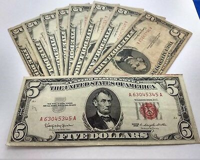 Currency Collection Of Old US SILVER Money $5 Dollar Bill $2 Dollar Bill and $1