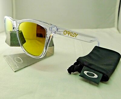2d421c8323 Oakley Frogskins Polished Crystal Clear 24K Gold Mirror Sunglasses 9013-A4  New