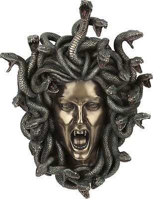 Medusa Greek Mythology Gorgon Resin Bronze Sculpture Mask wall mounted 37cm