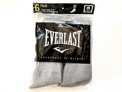 Mens Cushioned Gray Crew Socks Shoe Size 6-12 Large Everlast 6-Pair NWT