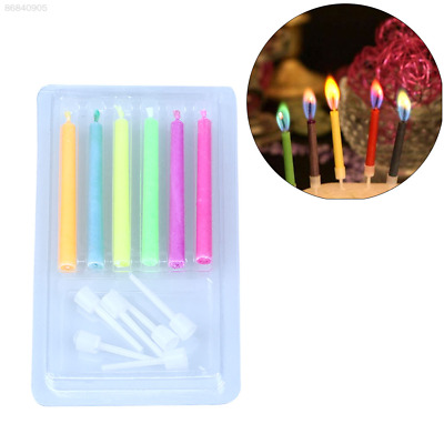 9A47 6Pcs Colored Birthday Cake Candles Safe Flames Party Festivals Decorations*