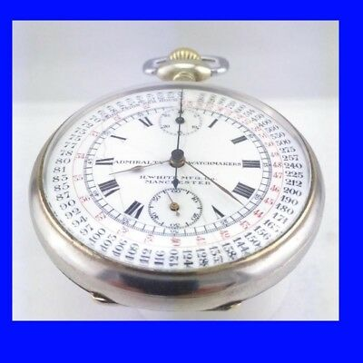 Swiss Silver Minerva 21J Chronograph 1/5 Seconds Stop H. White Pocket Watch 1933