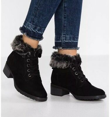 1eb1cd23322 EVANS WOMENS WIDE Fit Black Cuff Lace Up Ankle Boots Size UK 5E ...