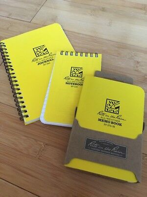 "LOT OF THREE NEW Pocket Notebook Rite in the Rain All-Weather 3.5"" x 5"" Yellow"