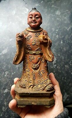Unsual Antique 8 inch Chinese Wood-Hand carved budha, the God of Wealth Statue.