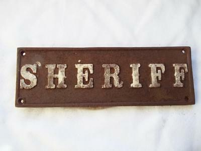 Cast Iron Sheriff Sign Plaque Western Old West Law Lawman