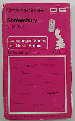 1978 old vintage OS Ordnance Survey Landranger 1:50000 Map 126 Shrewsbury