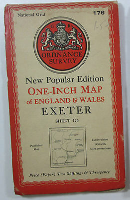 1946 vintage OS Ordnance Survey New Popular Edition one-inch map 176 Exeter