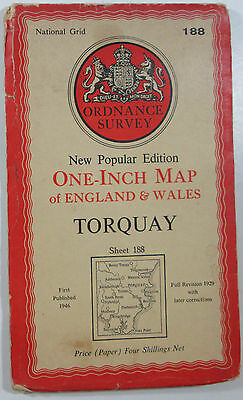 1946 OS Ordnance Survey New Popular 6th Edition one-inch map 188 Torquay - paper