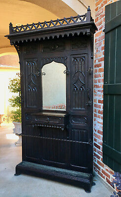 Antique French Gothic Carved Oak HALL TREE Mirror Renaissance Architechtural