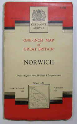 1960 Old Vintage OS Ordnance Survey one-inch seventh Series Map 126 Norwich