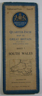1946 Vintage OS Ordnance Survey Quarter-Inch Map Fourth Edition 7 South Wales