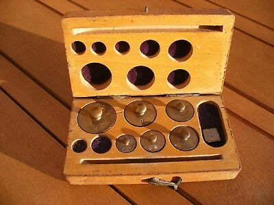 Vintage Weights Set In Wood Case For Chemical Balance Scales Brass Grams Boxed