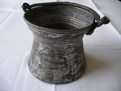 Ancient Antique Copper Bronze Cauldron Well Decorated Unresearched & Unknown Age