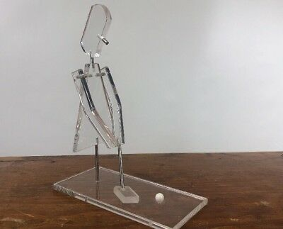 Mid Century Mod Lucite Figure Playing Gulf  Desk Sculpture