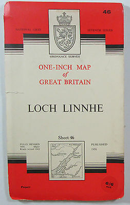 1963 old vintage OS Ordnance Survey seventh series one-inch Map 46 Loch Linnhe