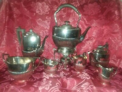 Antique 9pc English Sterling Silver Tea Coffee Service