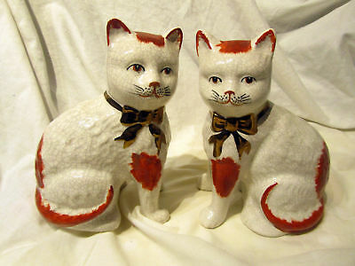 """A Pair Of Vintage Ceramic Mantel Cats 8"""" Tall"""
