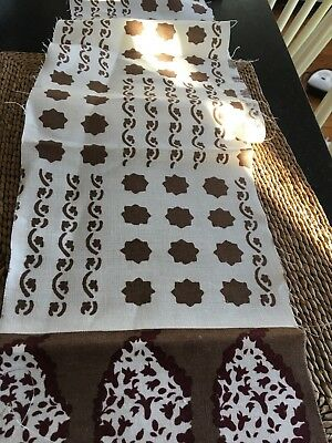 Sister Parish Campbello Brown White  Linen Quilting Fabric 54 in. x 8 in.