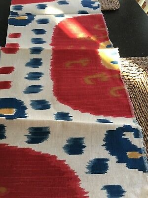 Brunschwig & Fils Samarkand  Red Blue Linen  Fabric Remnant 51 in. x 9 in.
