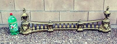 "Antique Lion & Torch heavy brass fire fender 3pc Adjustable 36""- 52"" width 21lbs"