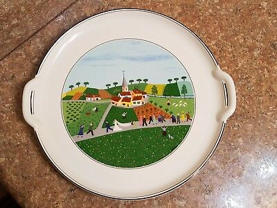 Villeroy & Boch Naif Round Handled Cake Plate Platter Wedding Procession