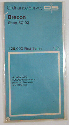 1951 old vintage OS Ordnance Survey 1:25000 First Series map SO 02 Brecon