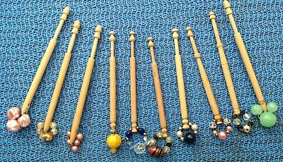 Ten (10) Nice Vintage Wooden Lace Bobbins with Spangles  FREE P & P to U.K.