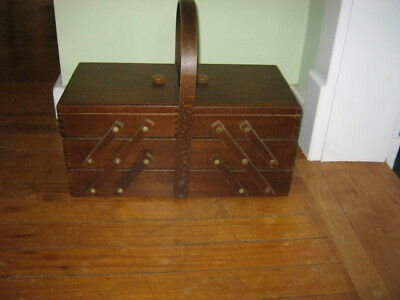 Vintage Wooden Expandable Sewing Box Made In Romania